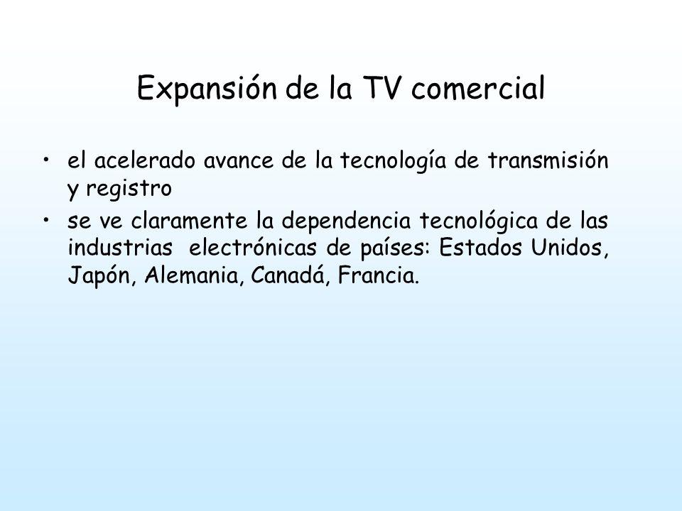 Expansión de la TV comercial el acelerado avance de la tecnología de transmisión y registro se ve claramente la dependencia tecnológica de las industrias electrónicas de países: Estados Unidos, Japón, Alemania, Canadá, Francia.