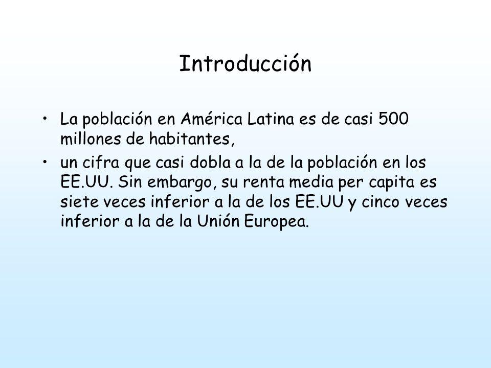 Introducción La población en América Latina es de casi 500 millones de habitantes, un cifra que casi dobla a la de la población en los EE.UU.