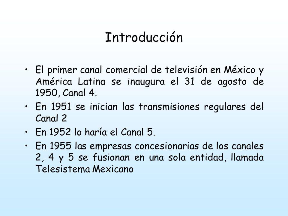 Introducción El primer canal comercial de televisión en México y América Latina se inaugura el 31 de agosto de 1950, Canal 4.