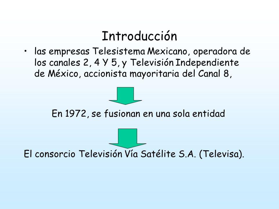 Introducción las empresas Telesistema Mexicano, operadora de los canales 2, 4 Y 5, y Televisión Independiente de México, accionista mayoritaria del Canal 8, En 1972, se fusionan en una sola entidad El consorcio Televisión Vía Satélite S.A.