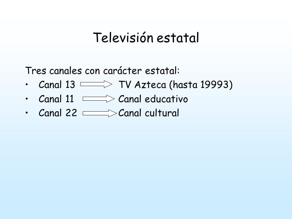 Televisión estatal Tres canales con carácter estatal: Canal 13 TV Azteca (hasta 19993) Canal 11 Canal educativo Canal 22 Canal cultural
