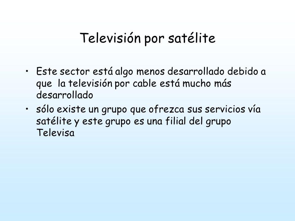 Televisión por satélite Este sector está algo menos desarrollado debido a que la televisión por cable está mucho más desarrollado sólo existe un grupo que ofrezca sus servicios vía satélite y este grupo es una filial del grupo Televisa