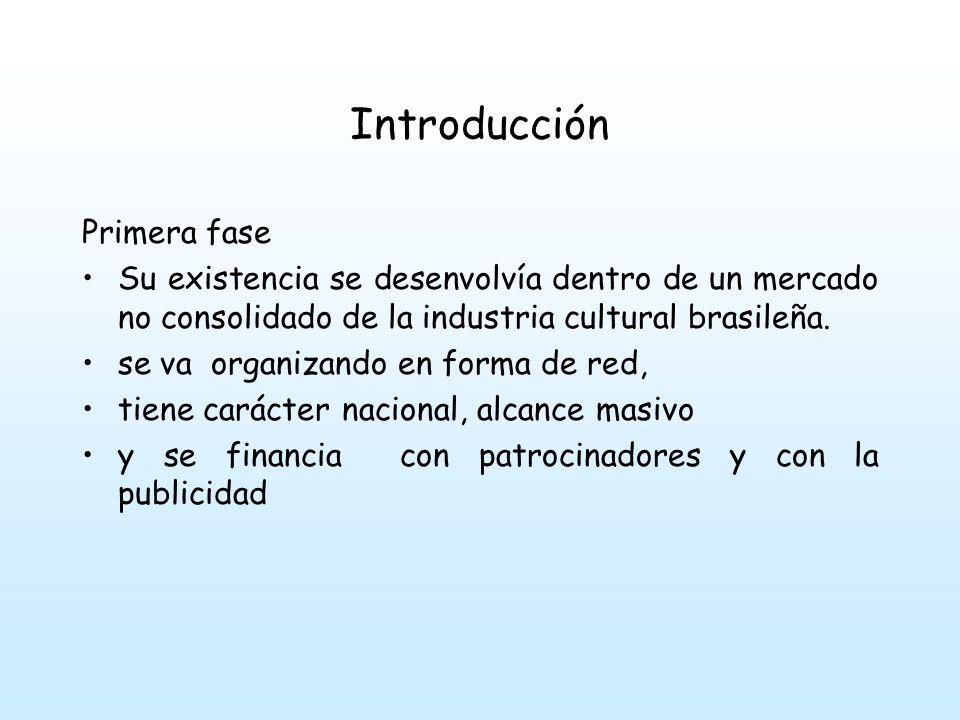 Introducción Primera fase Su existencia se desenvolvía dentro de un mercado no consolidado de la industria cultural brasileña.