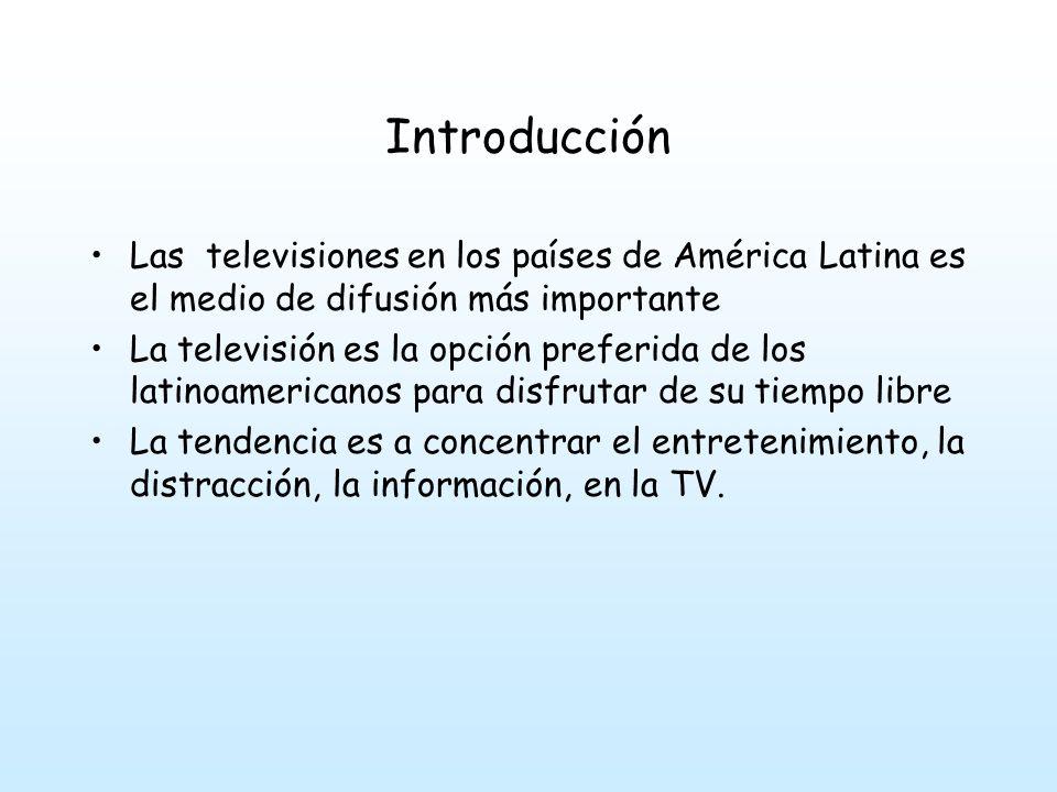 Introducción Las televisiones en los países de América Latina es el medio de difusión más importante La televisión es la opción preferida de los latinoamericanos para disfrutar de su tiempo libre La tendencia es a concentrar el entretenimiento, la distracción, la información, en la TV.
