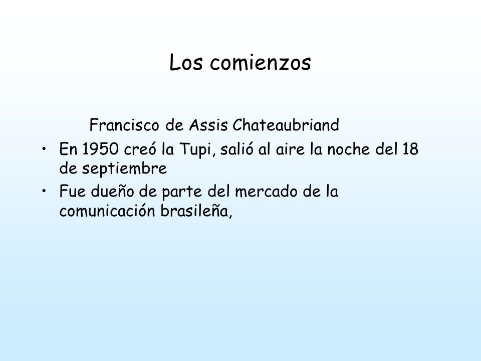 Los comienzos Francisco de Assis Chateaubriand En 1950 creó la Tupi, salió al aire la noche del 18 de septiembre Fue dueño de parte del mercado de la comunicación brasileña,