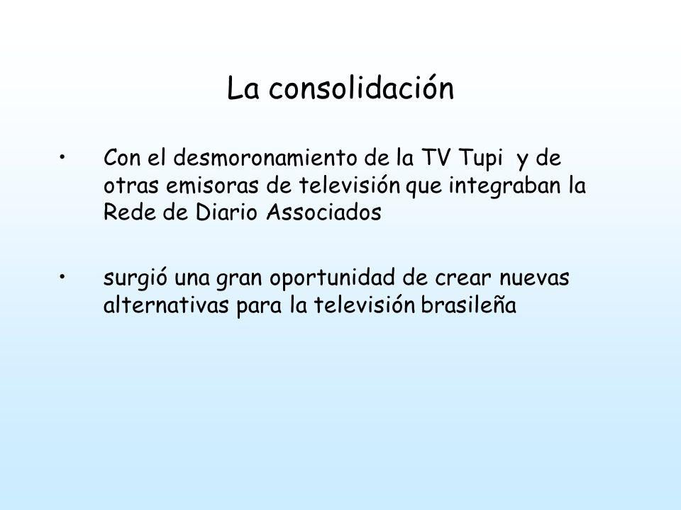 La consolidación Con el desmoronamiento de la TV Tupi y de otras emisoras de televisión que integraban la Rede de Diario Associados surgió una gran oportunidad de crear nuevas alternativas para la televisión brasileña