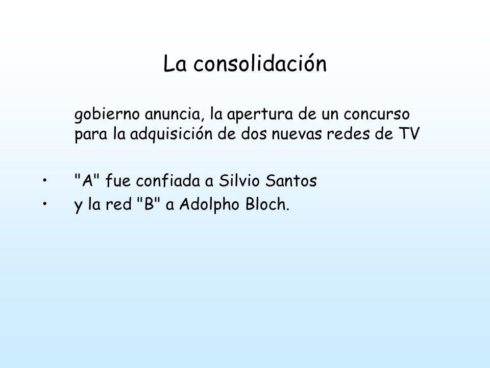 La consolidación En 1981 Sílvio Santos inauguró su Sistema Brasileiro de Televisión (SBT) Bloch invirtió decididamente en calidad, inaugurando la Rede Manchete casi dos años después de firmar el contrato.