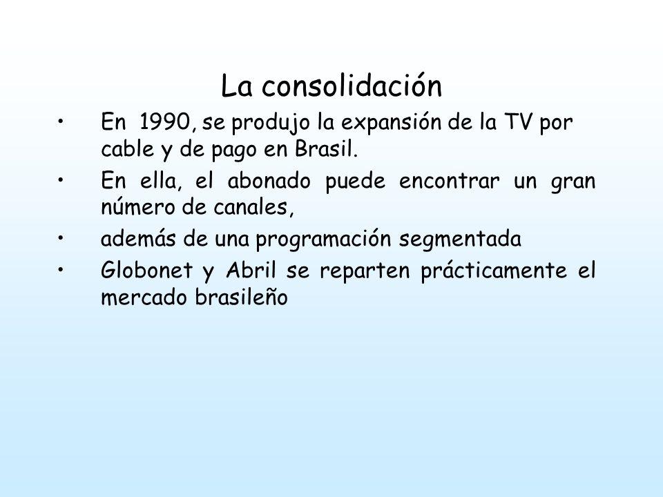La consolidación En 1990, se produjo la expansión de la TV por cable y de pago en Brasil.
