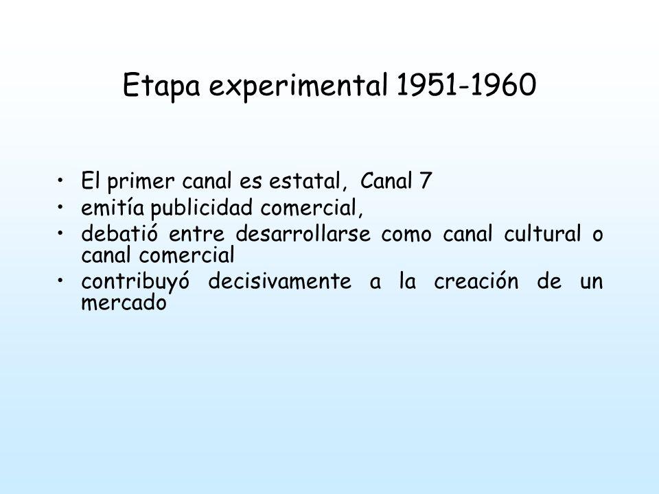 Etapa experimental 1951-1960 En 1956 se emiten las primeras series norteamericanas se definen los géneros y los formatos de programas sobre los que se construye la televisión Teleteatro, humor, comedia, deportes, entretenimiento, musicales.