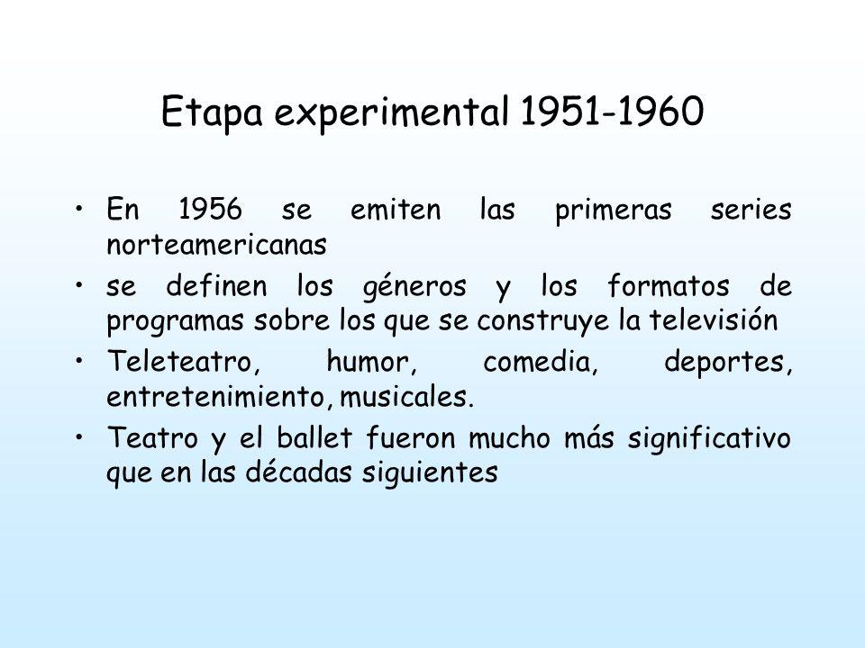Etapa experimental 1951-1960 En 1957 un nuevo decreto-ley regula la futura aparición de canales privados.