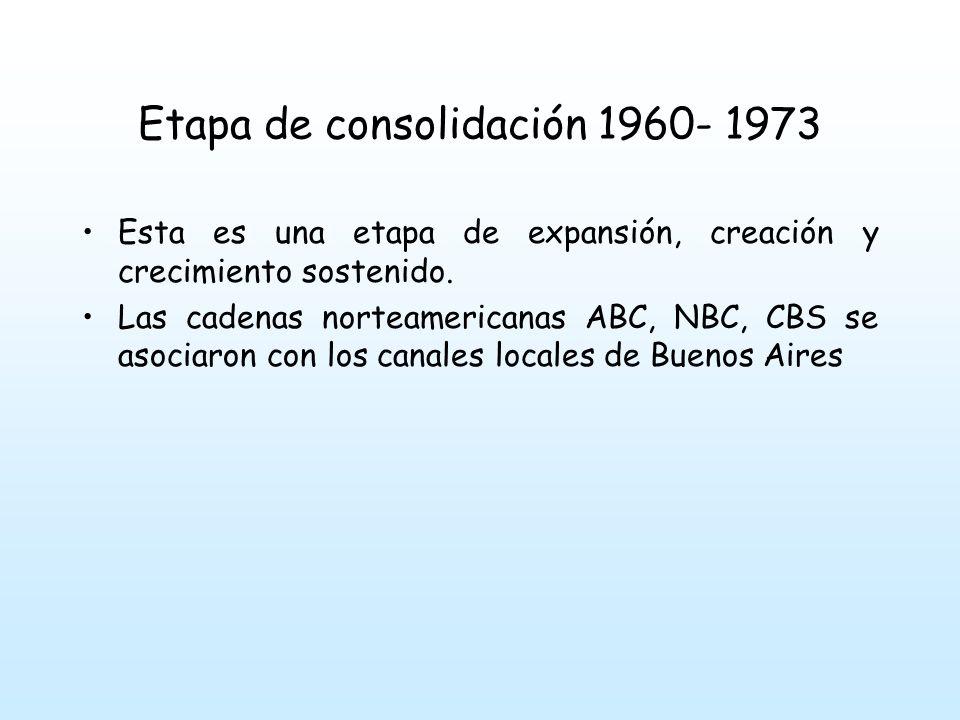 Etapa de consolidación 1960- 1973 en el interior del país fueron surgiendo una cantidad importante de cadenas independientes.