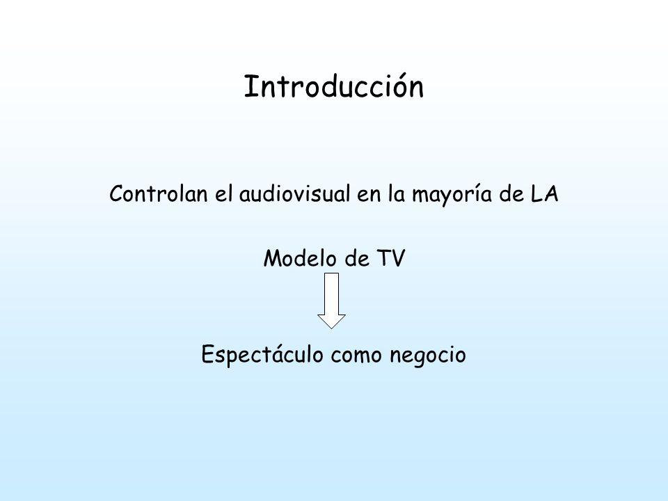 Introducción Controlan el audiovisual en la mayoría de LA Modelo de TV Espectáculo como negocio