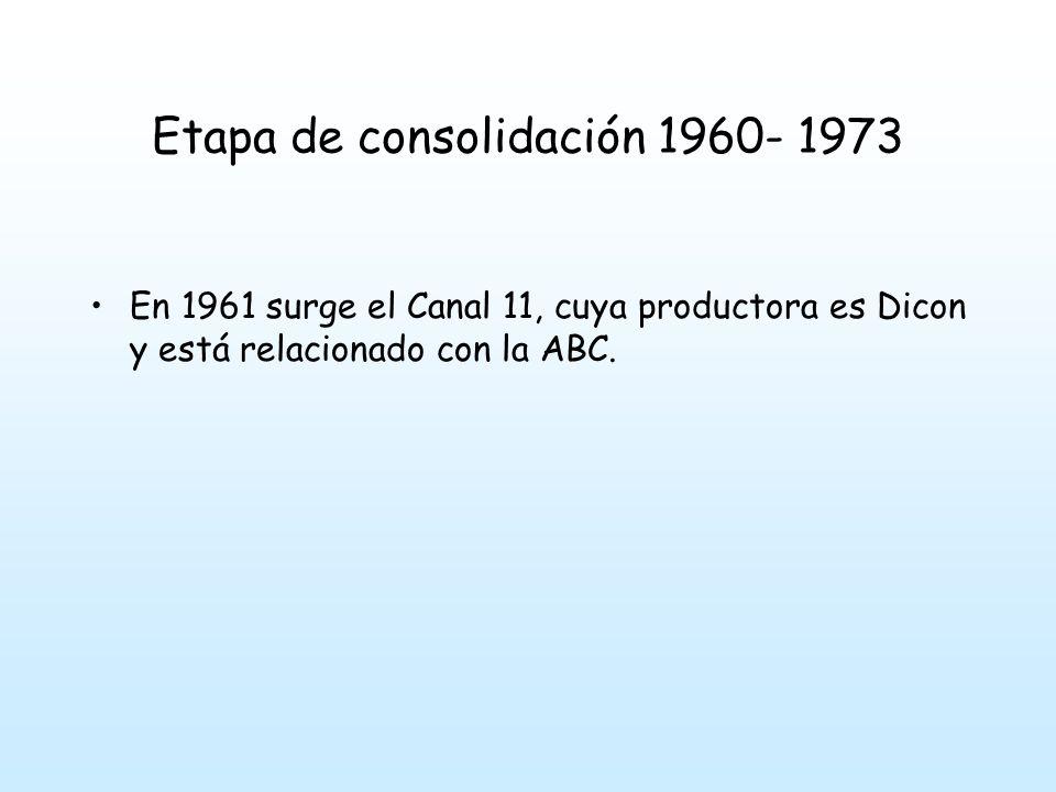 Etapa de consolidación 1960- 1973 En 1961 surge el Canal 11, cuya productora es Dicon y está relacionado con la ABC.