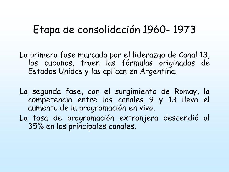Etapa de consolidación 1960- 1973 La primera fase marcada por el liderazgo de Canal 13, los cubanos, traen las fórmulas originadas de Estados Unidos y las aplican en Argentina.