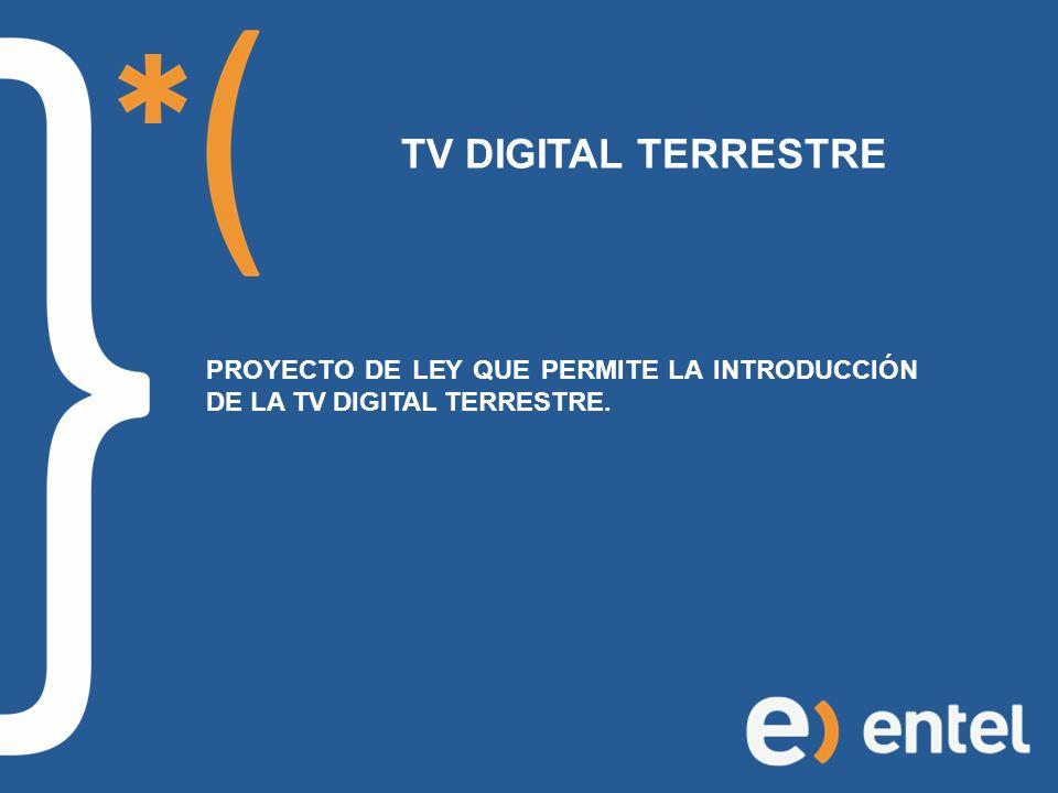 TV DIGITAL TERRESTRE PROYECTO DE LEY QUE PERMITE LA INTRODUCCIÓN DE LA TV DIGITAL TERRESTRE.