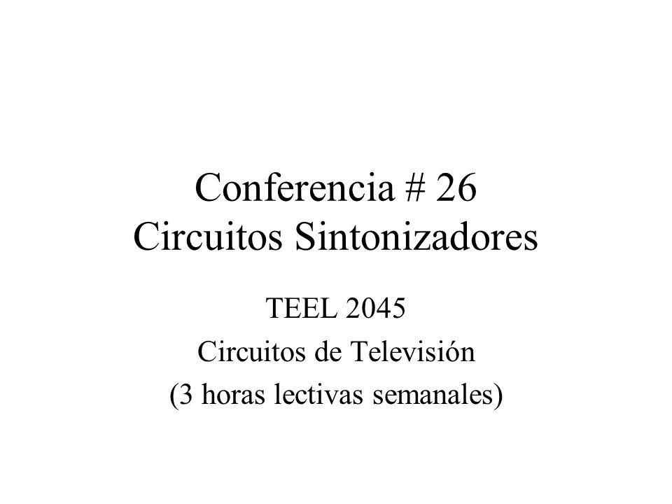 Conferencia # 26 Circuitos Sintonizadores TEEL 2045 Circuitos de Televisión (3 horas lectivas semanales)