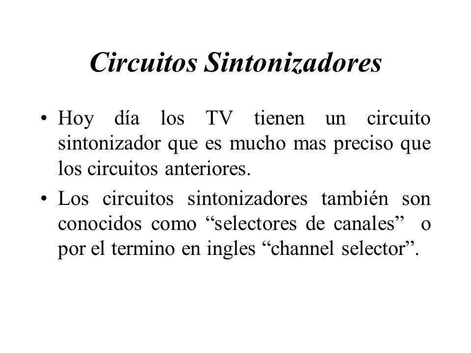 Circuitos Sintonizadores Hoy día los TV tienen un circuito sintonizador que es mucho mas preciso que los circuitos anteriores. Los circuitos sintoniza