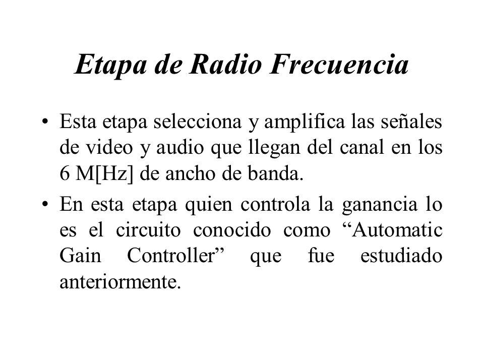 Etapa de Radio Frecuencia Esta etapa selecciona y amplifica las señales de video y audio que llegan del canal en los 6 M[Hz] de ancho de banda. En est
