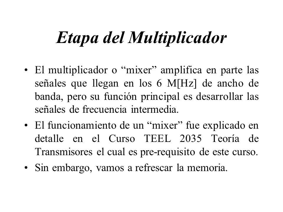 Etapa del Multiplicador El multiplicador o mixer amplifica en parte las señales que llegan en los 6 M[Hz] de ancho de banda, pero su función principal