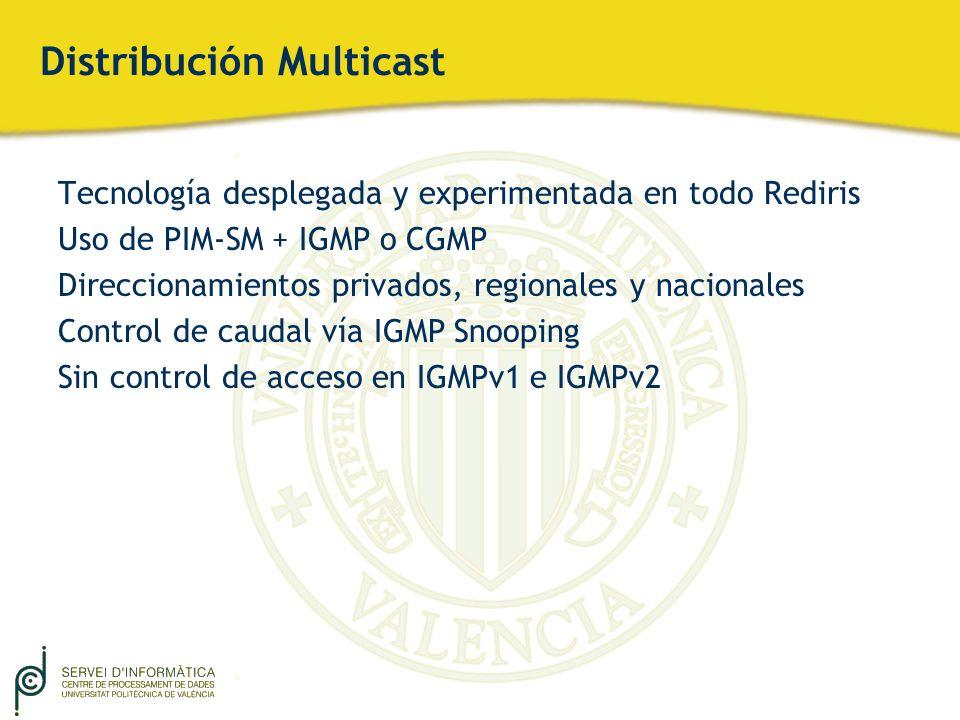 Distribución Multicast Tecnología desplegada y experimentada en todo Rediris Uso de PIM-SM + IGMP o CGMP Direccionamientos privados, regionales y naci