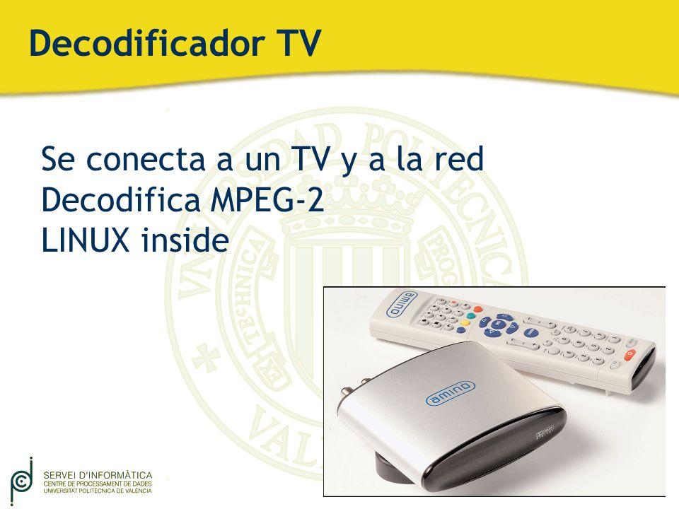 Decodificador TV Se conecta a un TV y a la red Decodifica MPEG-2 LINUX inside