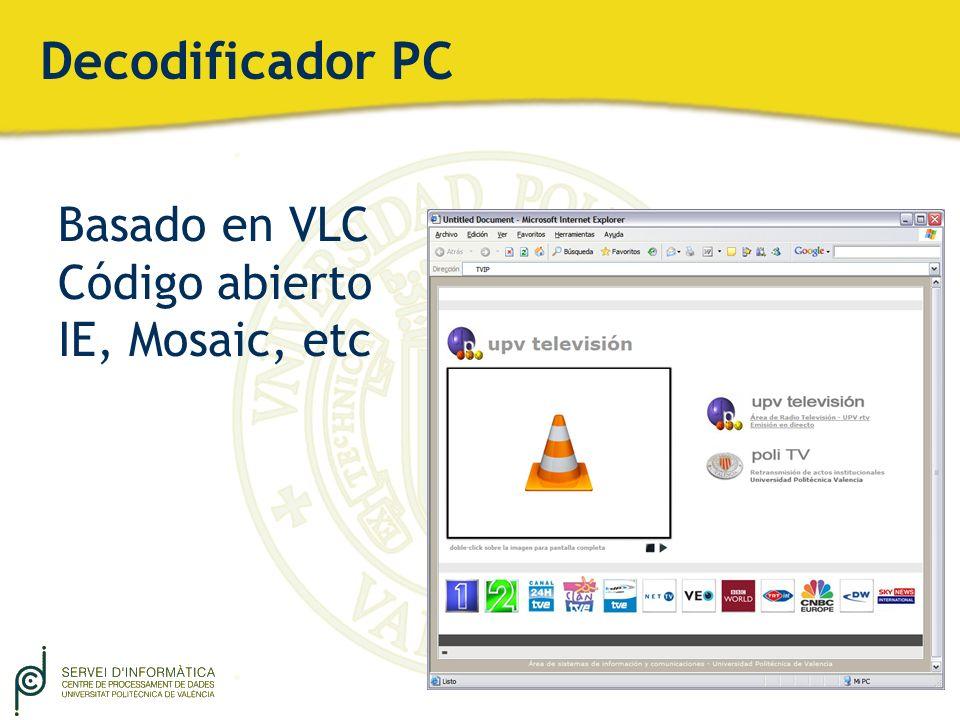 Decodificador PC Basado en VLC Código abierto IE, Mosaic, etc