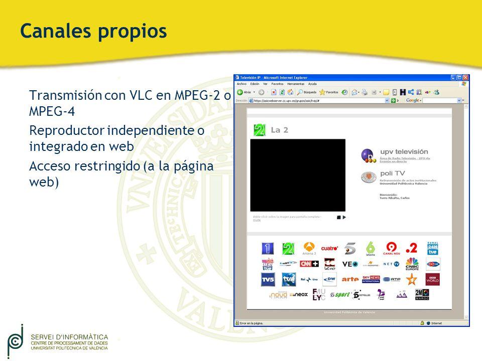 Canales propios Transmisión con VLC en MPEG-2 o MPEG-4 Reproductor independiente o integrado en web Acceso restringido (a la página web)