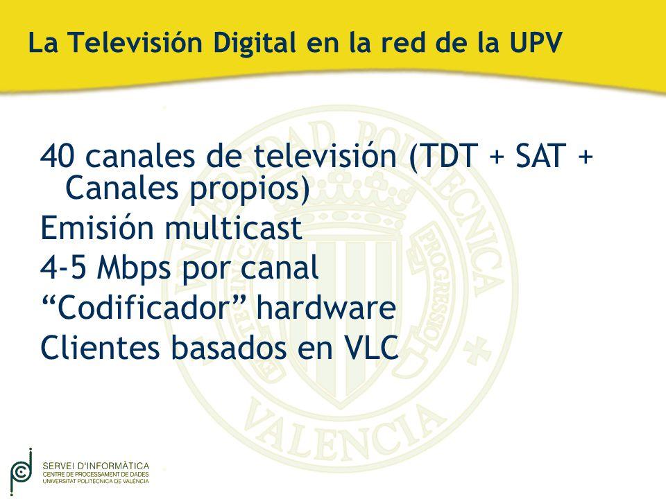 La Televisión Digital en la red de la UPV 40 canales de televisión (TDT + SAT + Canales propios) Emisión multicast 4-5 Mbps por canal Codificador hard