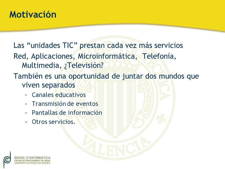 Motivación Las unidades TIC prestan cada vez más servicios Red, Aplicaciones, Microinformática, Telefonía, Multimedia, ¿Televisión? También es una opo
