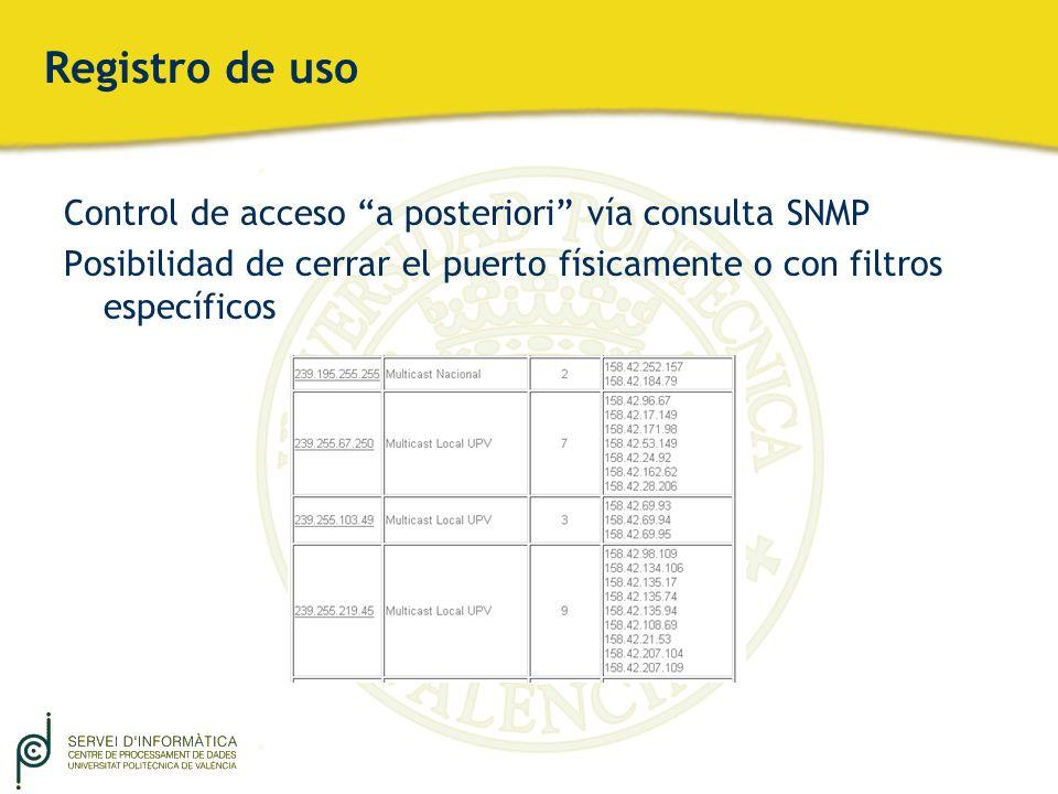 Registro de uso Control de acceso a posteriori vía consulta SNMP Posibilidad de cerrar el puerto físicamente o con filtros específicos