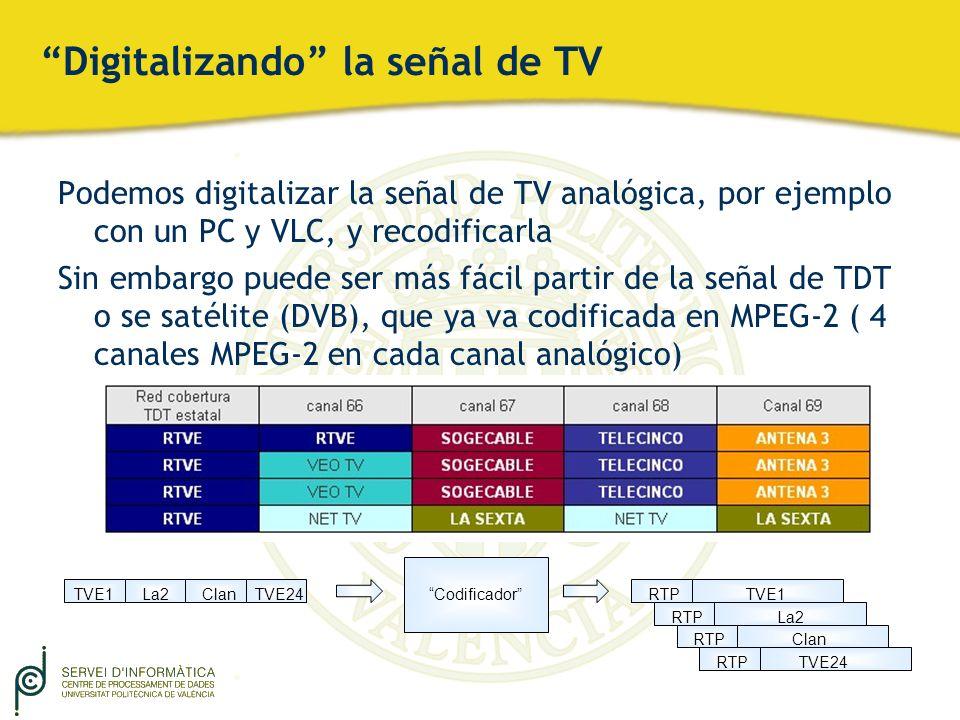 Digitalizando la señal de TV Podemos digitalizar la señal de TV analógica, por ejemplo con un PC y VLC, y recodificarla Sin embargo puede ser más fáci