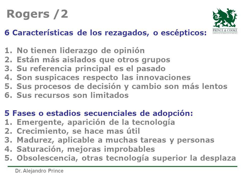 Dr. Alejandro Prince 6 Características de los rezagados, o escépticos: 1.No tienen liderazgo de opinión 2.Están más aislados que otros grupos 3.Su ref