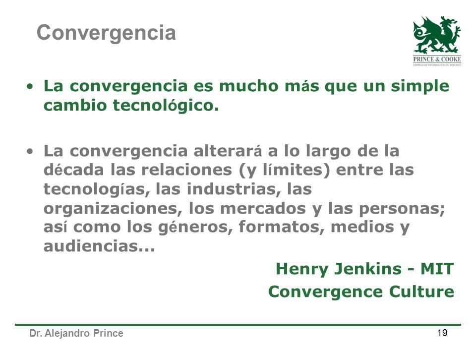 Dr. Alejandro Prince 19 La convergencia es mucho m á s que un simple cambio tecnol ó gico. La convergencia alterar á a lo largo de la d é cada las rel