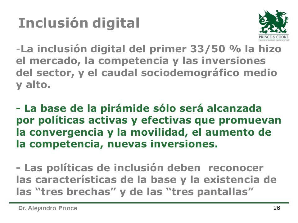 Dr. Alejandro Prince 26 -La inclusión digital del primer 33/50 % la hizo el mercado, la competencia y las inversiones del sector, y el caudal sociodem