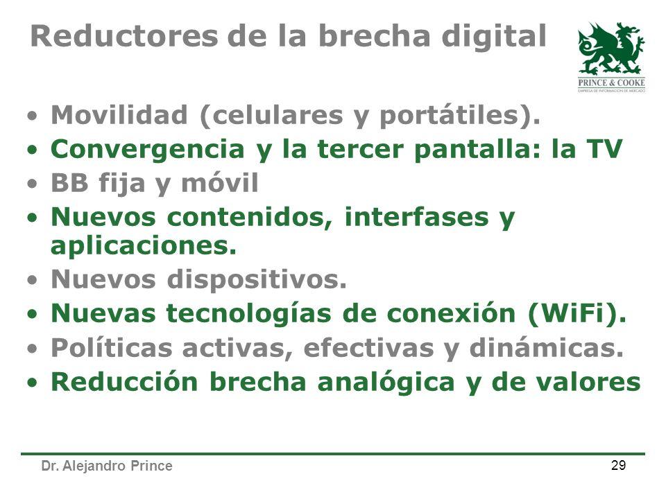 Dr. Alejandro Prince 29 Movilidad (celulares y portátiles). Convergencia y la tercer pantalla: la TV BB fija y móvil Nuevos contenidos, interfases y a
