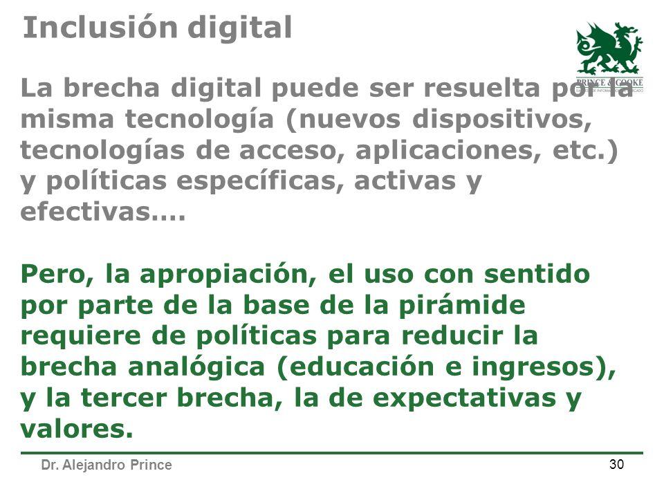Dr. Alejandro Prince 30 La brecha digital puede ser resuelta por la misma tecnología (nuevos dispositivos, tecnologías de acceso, aplicaciones, etc.)