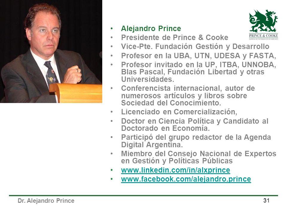 Dr. Alejandro Prince 31 Alejandro Prince Presidente de Prince & Cooke Vice-Pte. Fundación Gestión y Desarrollo Profesor en la UBA, UTN, UDESA y FASTA,