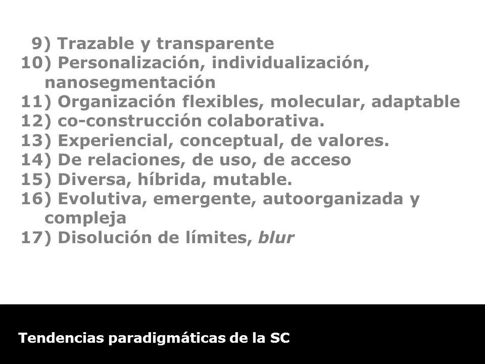 Estudio de Comercio Electrónico en la Argentina Tendencias paradigmáticas de la SC 9) Trazable y transparente 10) Personalización, individualización,
