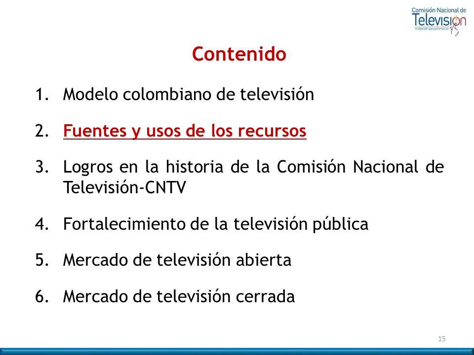 15 Contenido 1. Modelo colombiano de televisión 2. Fuentes y usos de los recursos 3.Logros en la historia de la Comisión Nacional de Televisión-CNTV 4