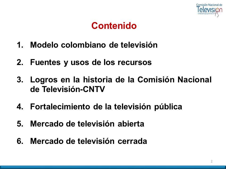 2 Contenido 1. Modelo colombiano de televisión 2. Fuentes y usos de los recursos 3.Logros en la historia de la Comisión Nacional de Televisión-CNTV 4.