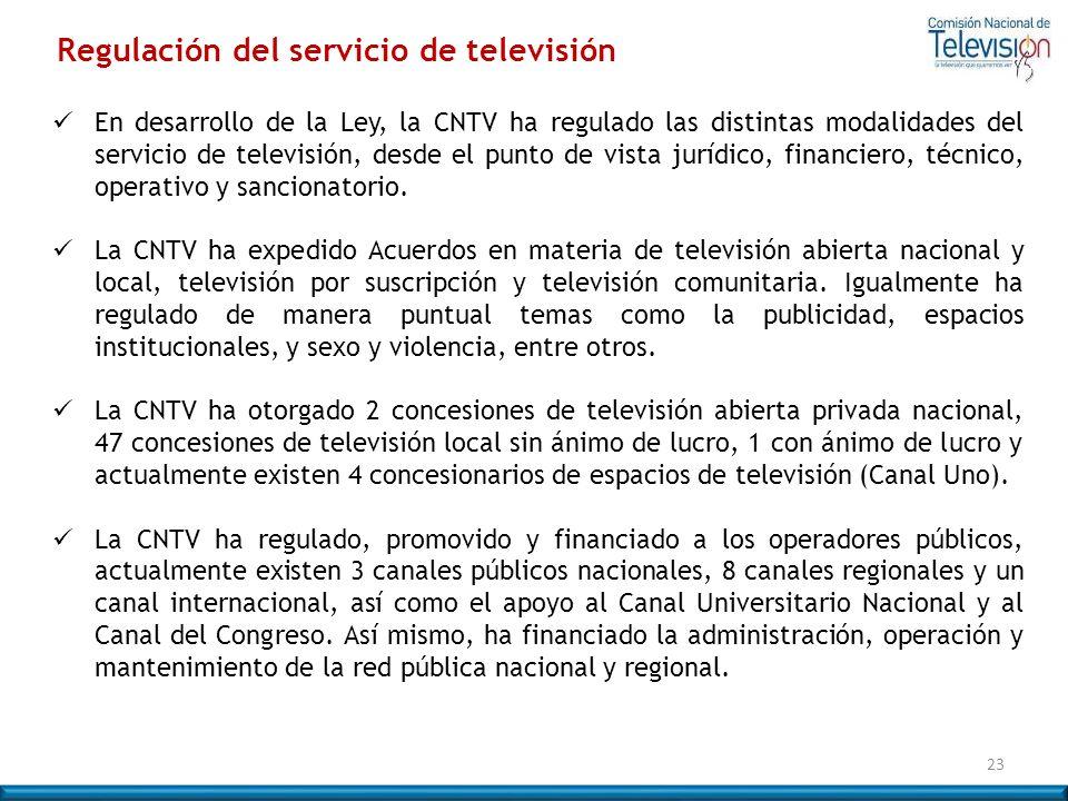 Regulación del servicio de televisión En desarrollo de la Ley, la CNTV ha regulado las distintas modalidades del servicio de televisión, desde el punt
