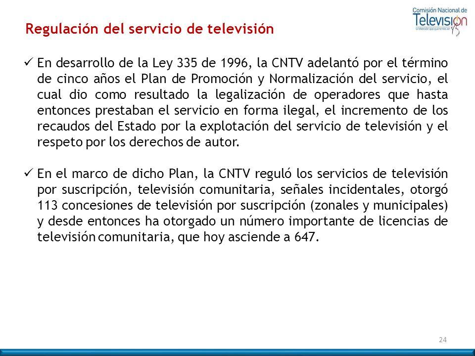 Regulación del servicio de televisión En desarrollo de la Ley 335 de 1996, la CNTV adelantó por el término de cinco años el Plan de Promoción y Normal