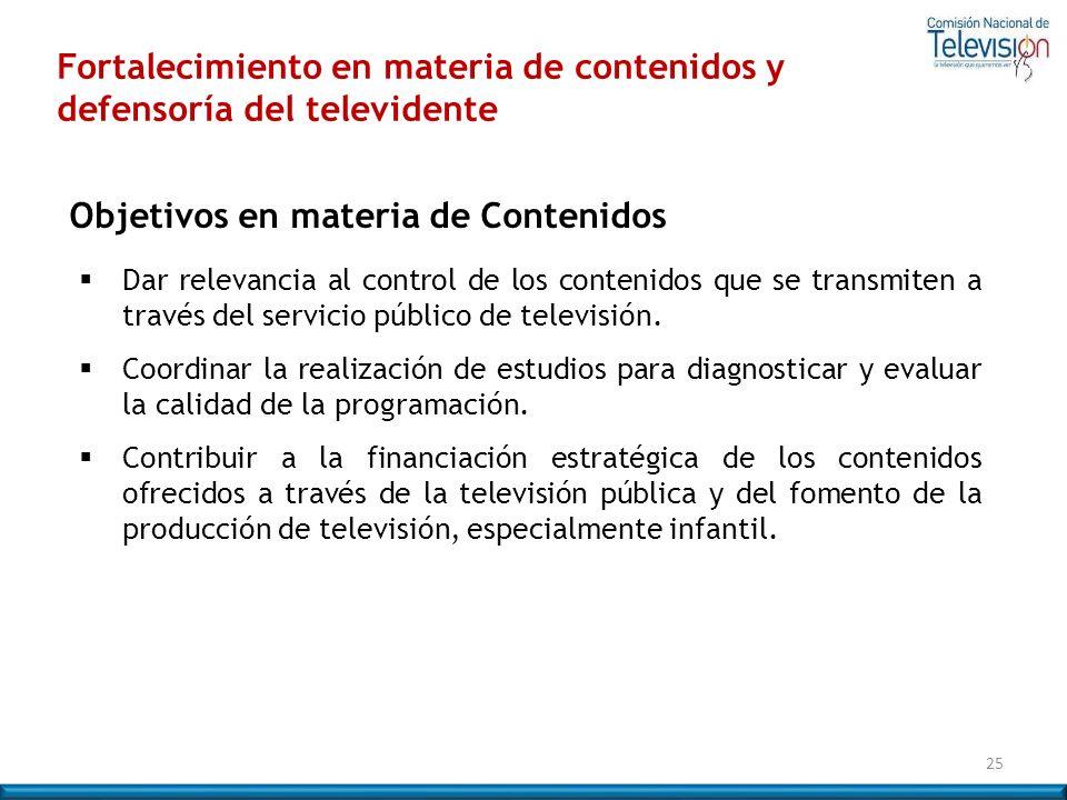 Fortalecimiento en materia de contenidos y defensoría del televidente 25 Objetivos en materia de Contenidos Dar relevancia al control de los contenido