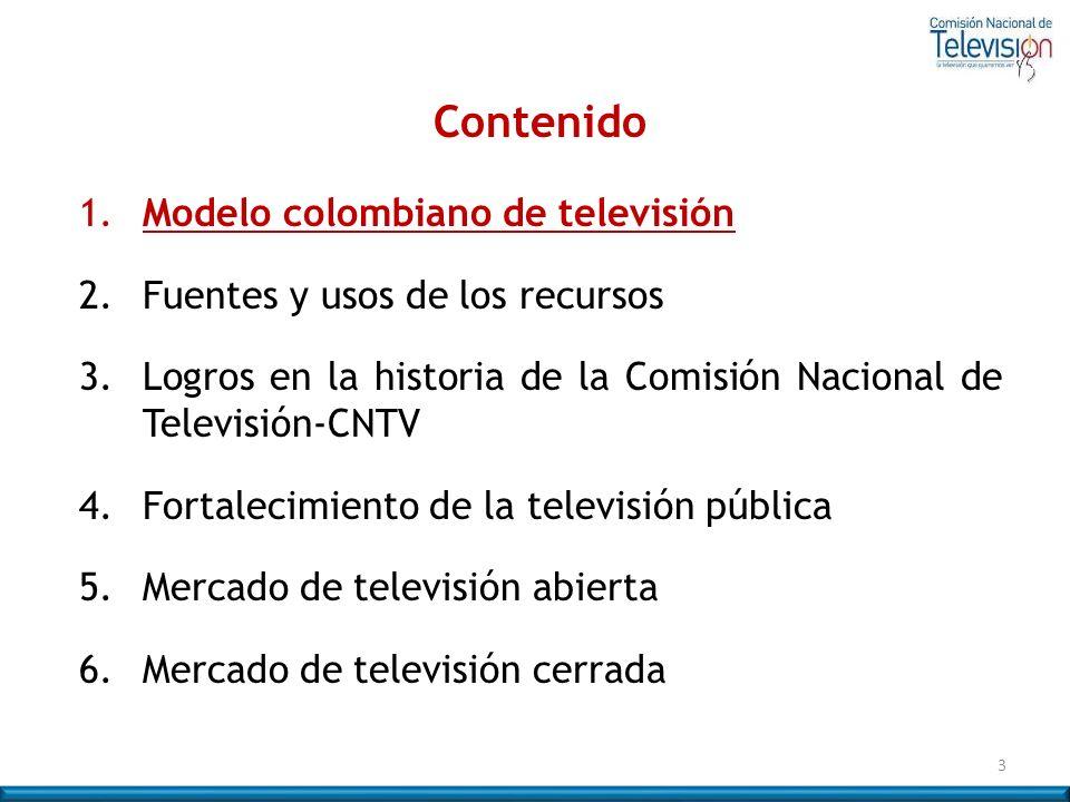 3 Contenido 1. Modelo colombiano de televisión 2. Fuentes y usos de los recursos 3.Logros en la historia de la Comisión Nacional de Televisión-CNTV 4.