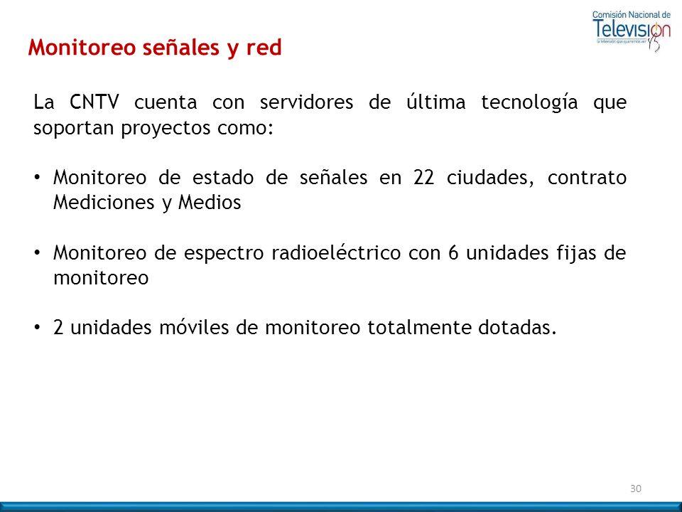 La CNTV cuenta con servidores de última tecnología que soportan proyectos como: Monitoreo de estado de señales en 22 ciudades, contrato Mediciones y M