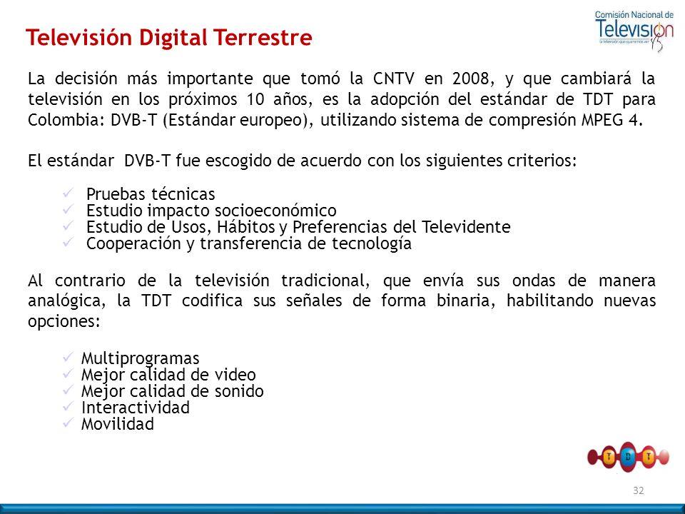 La decisión más importante que tomó la CNTV en 2008, y que cambiará la televisión en los próximos 10 años, es la adopción del estándar de TDT para Col