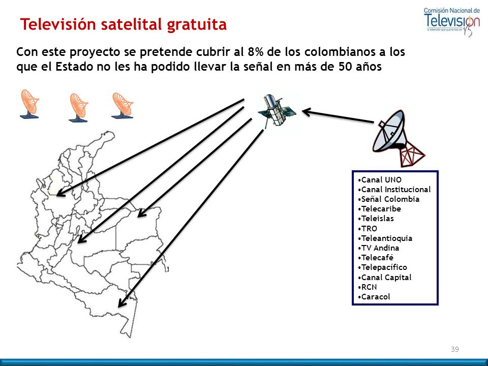 Con este proyecto se pretende cubrir al 8% de los colombianos a los que el Estado no les ha podido llevar la señal en más de 50 años 39 Canal UNO Cana