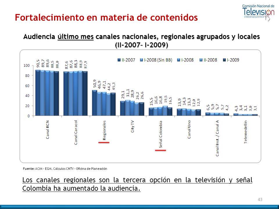 Fortalecimiento en materia de contenidos 43 Fuente: ACIM - EGM. Cálculos CNTV – Oficina de Planeación Los canales regionales son la tercera opción en