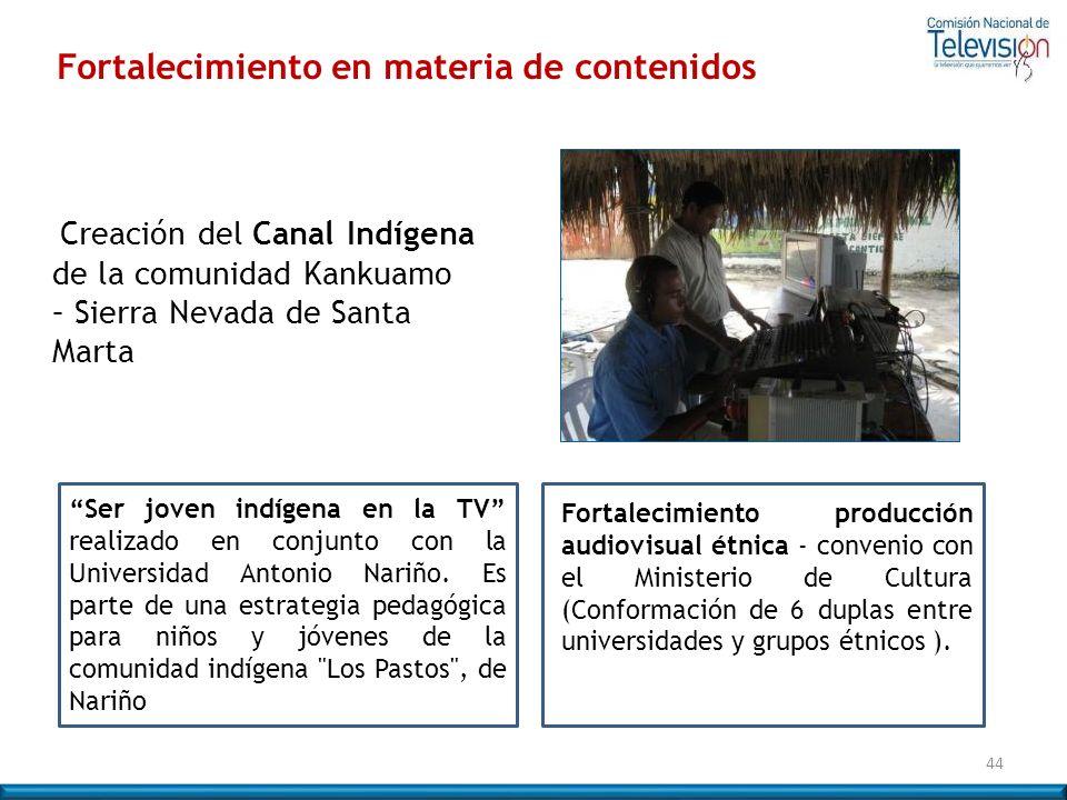 Creación del Canal Indígena de la comunidad Kankuamo – Sierra Nevada de Santa Marta Ser joven indígena en la TV realizado en conjunto con la Universid
