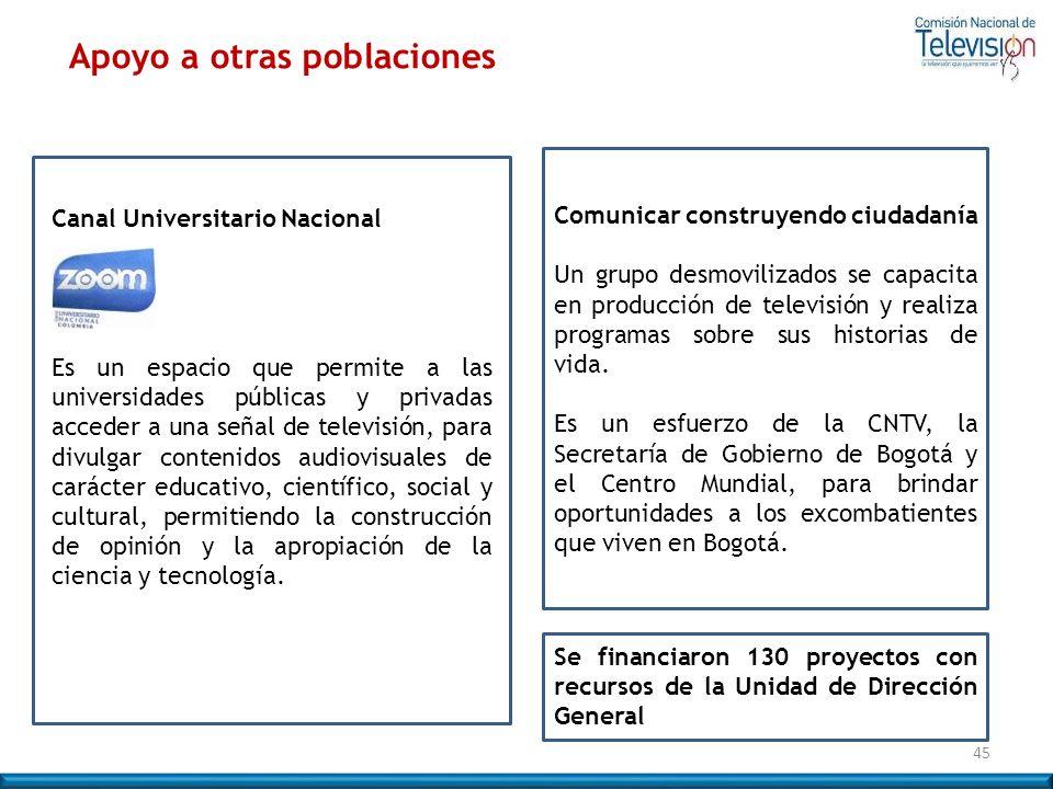 Canal Universitario Nacional Es un espacio que permite a las universidades públicas y privadas acceder a una señal de televisión, para divulgar conten